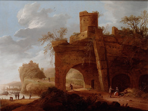 Landschap met ruïne van een poortgebouw