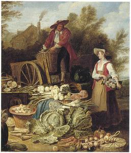 Een boer en een boerin met een uitstalling van hun groente op en rondom een kar