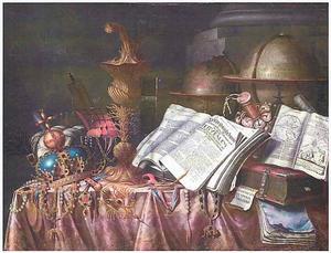 Vanitasstilleven met pronkbeker, regalia, globes en boeken