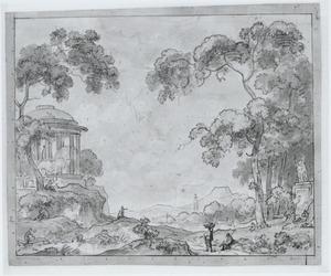 Arcadisch landschap met een tempel