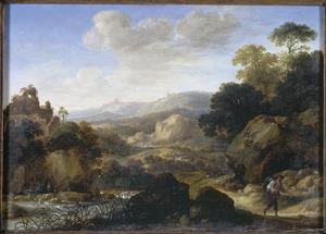 Berglandschap met een marskramer, reizigers en herders