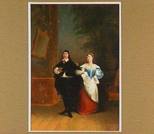 Een man overhandigt een vrouw een brief; een toneelscène
