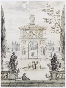 Parklandschap met terras, beelden, fontein en poort