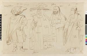 Studie van vier figuren in Oosterse kledij