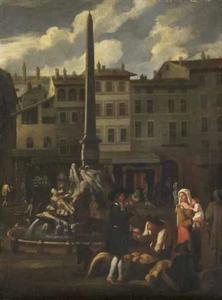 Markttafereel op het Piazza Navona te Rome