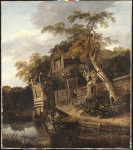 Landschap met een boerderij aan een rivier