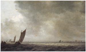 Riviergezicht met zeilschepen