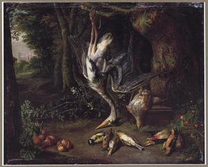 Jachtbuit, waaronder een reiger, aan een bosrand