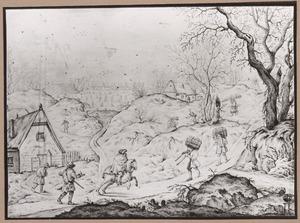 Winterlandschap met houtsprokkelaars, ruiter en jagers