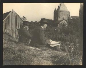 Nicolaas Bastert en Geo Poggenbeek aan het tekenen bij Vianen