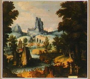 Bergachtig landschap met de verzoeking van de heilige Guarinus