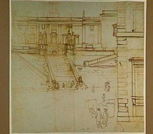 De trappen naar het Campidoglio met de Dioscuren, in Rome