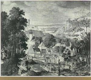 Heuvelachtig rivierlandschap met dorp en figuren