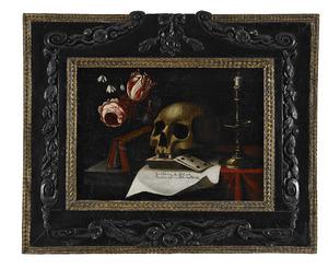Vanitasstilleven met een schedel en een kaartspel