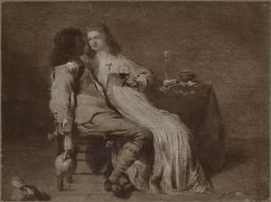 Amoureus paar in een interieur