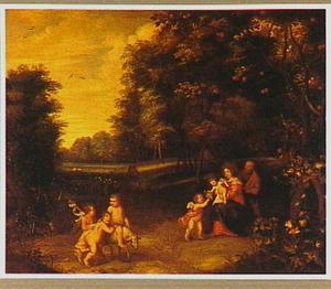 De H. Familie met Johannes de Doper en engelen in een landschap