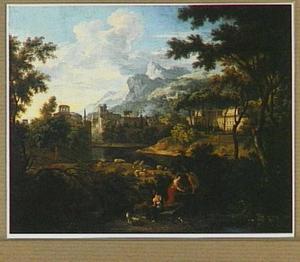 Zuidelijk landschap met rustende herders en hun vee; op de achtergrond een stad