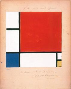 Opzet voor Compositie met rood, geel en blauw