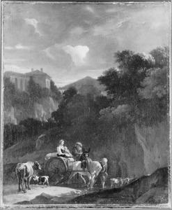 Zuidelijk landschap met een boerenkar en vee door een rivier trekkend