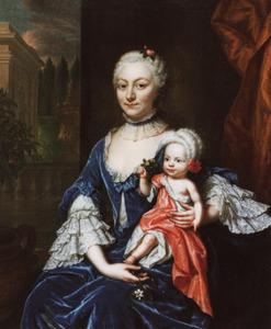 Dubbelportret van een onbekende vrouw met kind