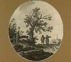 Landschap met figuren en een hond