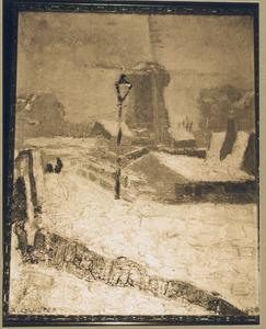 Stadsgezicht met molen, in de sneeuw