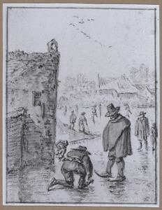Schaatsers op het ijs bij een stadsmuur