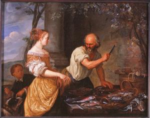 Visverkooper met een klant