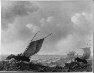 Hollandse schepen op woelig water
