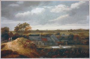 Duinlandschap met bleekvelden buiten een dorp, in de verte Haarlem