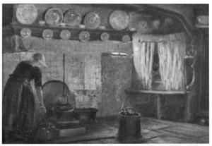Hollandse vrouw in keukeninterieur