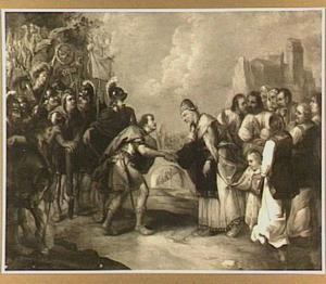 Ongeïdentificeerde voorstelling: Begroeting van een Romeinse veldheer en een joodse hogepriester (de overgave van een stad?)
