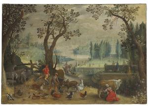 Landschap met figuren en dieren op de voorgrond, een elegant paar in een gondel en een formele tuin in de achtergrond; allegorie op de lente