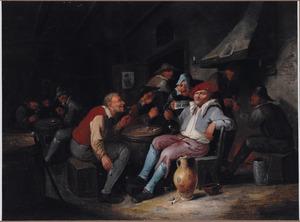 Interieur van een herberg met een zingend en drinkend boerengezelschap
