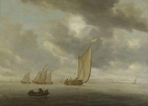 Weids rivierlandschap met zeilboten, linksvoor een roeiboot,  in het verschiet links een stad