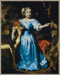 Portret van een meisje, staande ten voeten uit in een landschap als Granida met een hertebokje