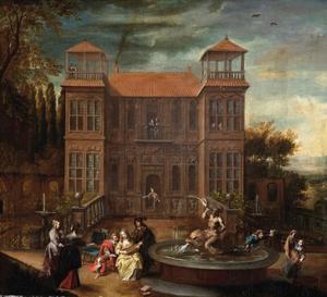 Elegant gezelschap musicerend bij een fontein voor een landhuis