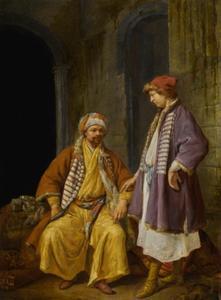 Twee Turkse kooplieden voor een huis