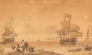 Hollandse schepen op zee voor de kust