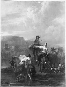 Zuidelijk landschap met herders bij een doorwaadbare plaats