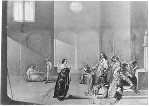 Interieur van een wachtlokaal met soldaten en een smekende vrouw