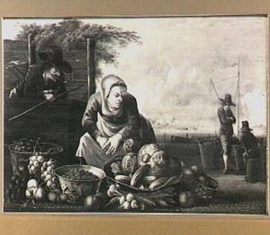 Marktkoopvrouw met een uitstalling van groente en vruchten op een kade
