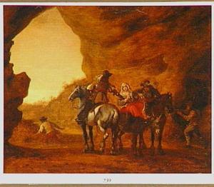 Bandieten te paard belagen een vrouw op een ezel