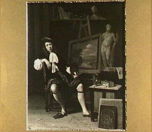 Portret van een kunstenaar in zijn atelier