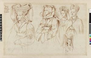 Studie van Jacoba van Beieren, Isabella van Portugal en drie edelvrouwen