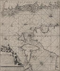 Kaart van de Baltische Zee bij de Golf van Riga