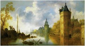 Rivierlandschap met het kasteel van Wijk bij Duurstede