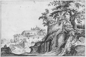 Italiaans stadsgezicht met ruïnes (Rome?)