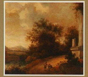 Heuvellandschap met rustende reizigers bij een ruïne