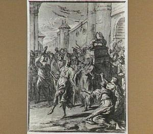 Koning David, spaarzaam gekleed, dansend voor de in Jeruzalem teruggekeerde Ark des Verbonds (2 Samuël 6:12-14)